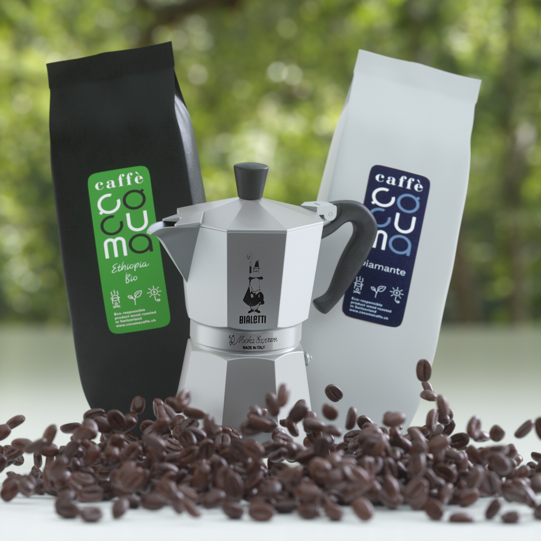 Zwei Kaffees mit einer Mokkakanne