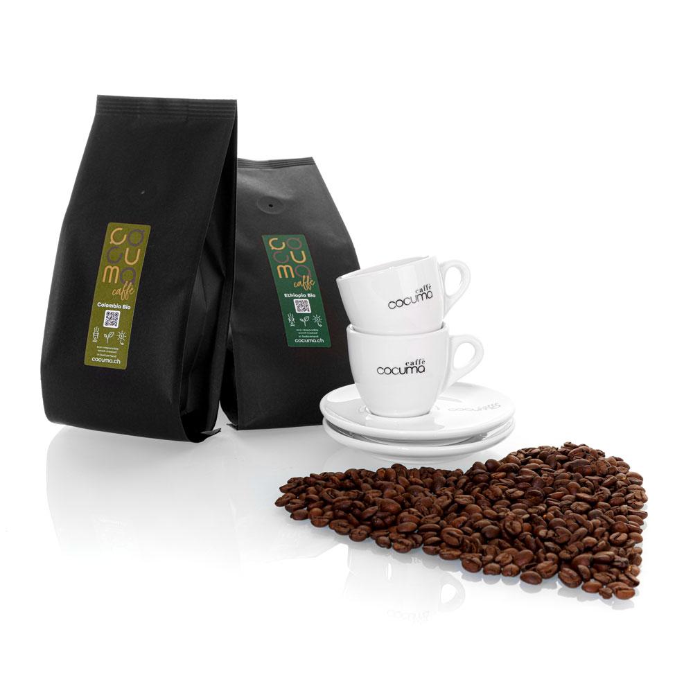 Kolumbianischer Kaffee mit äthiopischer Kaffee Bio und zwei Ta
